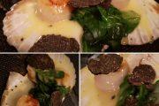 ENTREE Saint Jacques de nos côtes française cuisson sur coquille - Beurre monté citronné - Pousses d'Epinards & Truffes Tuber Melanosporum
